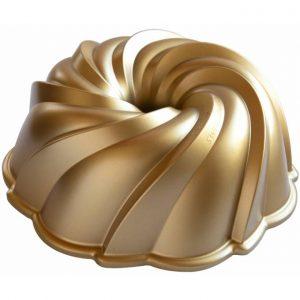 "Forma na bábovku Swirl – ""Vodný vír"" – Nordic Ware zlatá 10 cup"